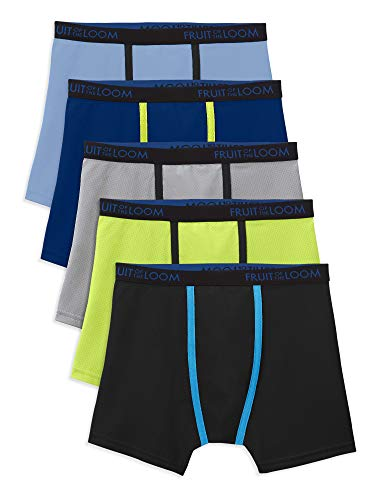 Fruit of the Loom Boys 5 Pack Breathable Boxer Brief Underwear (Medium (10-12), Micro/Mesh Assorted)