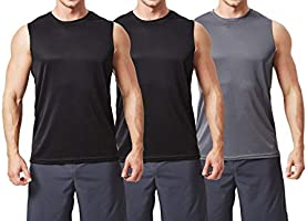 TEXFIT Men's 3-Pack Quick Dry Sleeveless Shirts, Workout Muscle Tank Tops (3pcs Set)