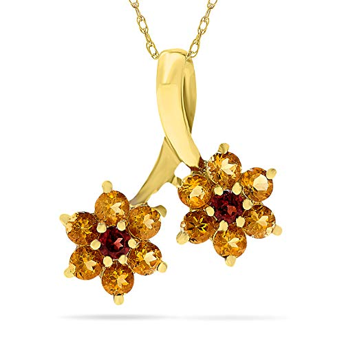 10k Yellow Gold Citrine and Garnet Flower Birthstone Pendant Necklace, 18 Inch Chain.