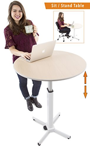 (Adjustable Height Multifunctional Round Table - Perfect use for Cocktail Table, Sit to Stand Desk, Side Table - and More! Large)
