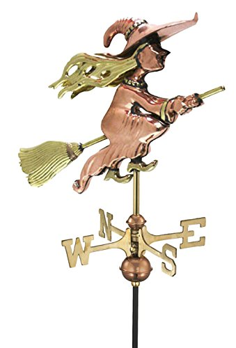Good Directions Witch Cottage Weathervane with Roof Mount, Pure Copper