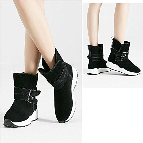 Femme Hiver Suede Tube bas Fond épais Antidérapant Bottes de neige Garde au chaud Bottines / Chaussures en coton , black , 36