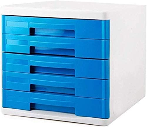 、色:ブルー4:引き出しデータストレージキャビネットファイル収納ボックスプラスチックブルー、ファイルキャビネット縦の胸はホームオフィス用家具(ブルー5色)食器棚 ファイリングキャビネット (Color : Blue 5)