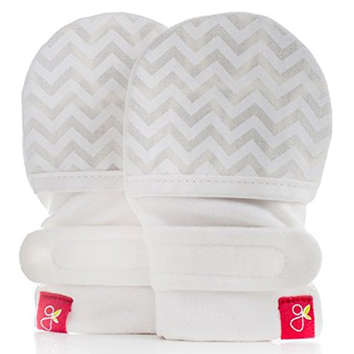 Goumikids Goumimitts Stay On Scratch Mittens, 1 pair Chevron (Cream) 0-3 months