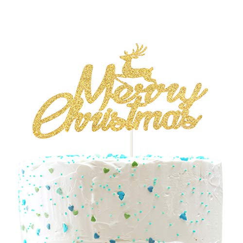 Merry Christmas with Reindeer Cake Topper for Happy New Year Holiday Winter Party Decor (Double Sides Gold Glitter)