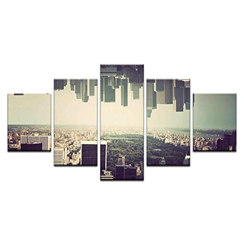5 Pieces Canvas Art City Evening Poster Canvas Painting Wall Pictures for Living Room Home Decor12x16/24/32 inch,Without Frame]()