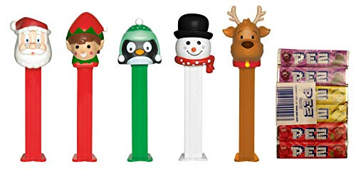 PEZ Candy Dispensers Set Christmas Holiday: Santa Claus, Elf, Reindeer, Snowman, Penguin and Candy Refill Bundle (5 Dispensers and 6 PEZ CandyRefills)