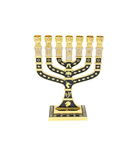 Sterling Silver Menorah - Large Enamel Menorah in Sterling Silver with Dark Navy&Gold of 12 Tribes of Israel