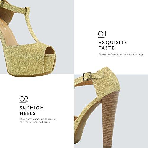 Dailyshoes Donna Peep Toe Piattaforma Sandalo Pompe Open Toe Fibbia Alla Caviglia T-strap Estremo Abito Da Sera Party Scarpe Casual Oro Gl
