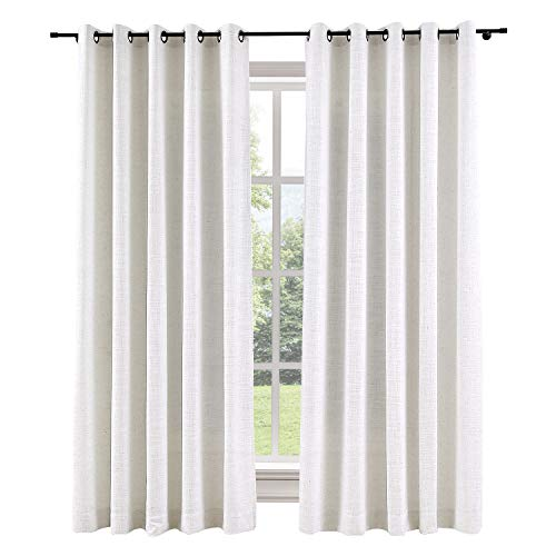 ChadMade 120W x 96L Inch Beige White Linen Polyester Curtain Drapes with Blackout Thermal Lining, Room Darkening Antique Bronze Grommet Curtain for Sliding Glass Door Patio Door Living Room (1 Panel)