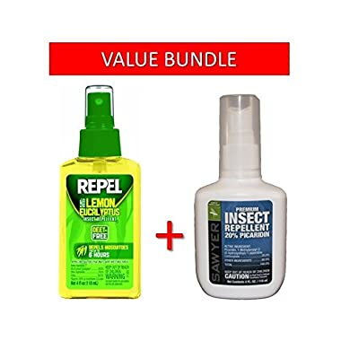 Sawyer Products Premium Insect Repellent with 20% Picaridin, 4oz Pump Spray AND Repel Lemon Eucalyptus Natural Insect Repellent, 4oz Pump Spray BUNDLE