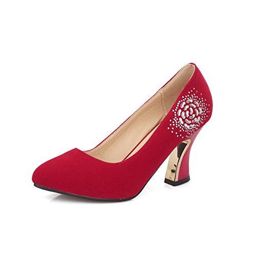 À Légeres Tire Agoolar Rouge Suédé Chaussures Pointu Haut Femme Couleur Talon Unie qgTYYx