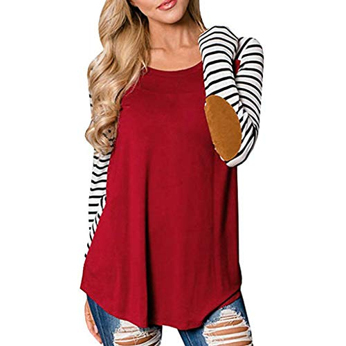 - Blouse for Womens,DaySeventh Womens Casual O Neck Stripe Tee Shirts Tops Tunic Long Sleeve Blouse RD/M Red