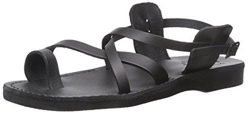 Gerusalemme Sandali Uomo Il Buon Sandalo Con Cinturino Alla Caviglia In Shepard Con Fibbia Nera