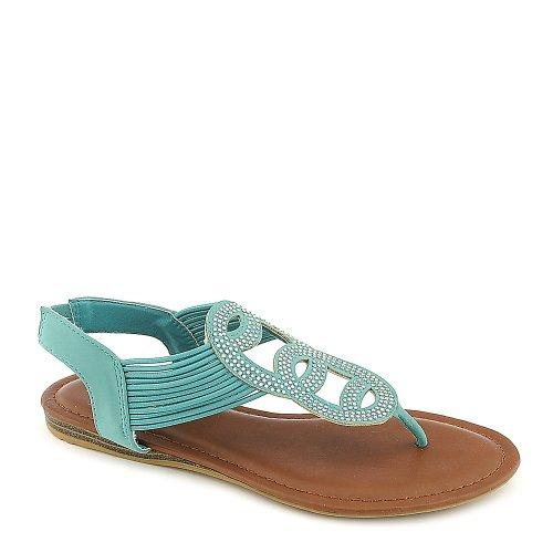 Bamboo Womens Mason-07 Sandal - Aqua Blue Size 8.5