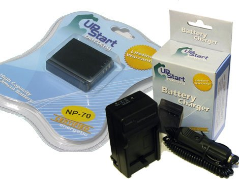 UpStart Battery NP-70 BC-70 Replacement Battery and AC/DC Dual Charger Kit for Fujifilm Finepix and Panasonic CGA-S005 Lumix Digital - Replacement Bc 70