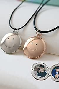 Generic Couples jewelry box necklace with smiley custom photo play an open sided chain clavicle simple silver pendants 95