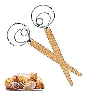 2 Pcs Danish Dough Whisk Large Stainless Steel Dutch Dough Whisk for Baking Cake, Bread Making, Pizza, Pastry, Dessert