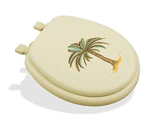 LDR 050 1070BO-PLM Deluxe Soft Toilet Seat with Stitched Palm Tree Design for Round Toilets Bone Color (Tree Toilet)