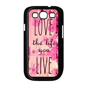 Pink Hipster Love the Life You Live Quote Samsung Galaxy S3 I9300 Case Cover TPU Wildflower Field
