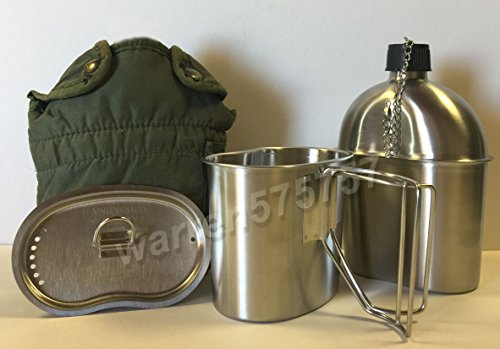 G.A.K. NEW.G.I. Style Stainless Steel 1qt. Canteen with Butterfly Handle Cup and Vented LID. And Used Genuine Surplus G.I. Issue Olive Drab Nylon Canteen Cover. by G.A.K.