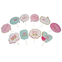 1 Set of 10pcs Photo Booth Props Stick for Wedding Engagement Party Photography Decor