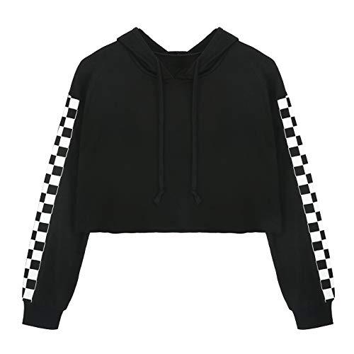 HDE Women's Crop Top Hoodie Cropped Long Sleeve Sweatshirt for Women