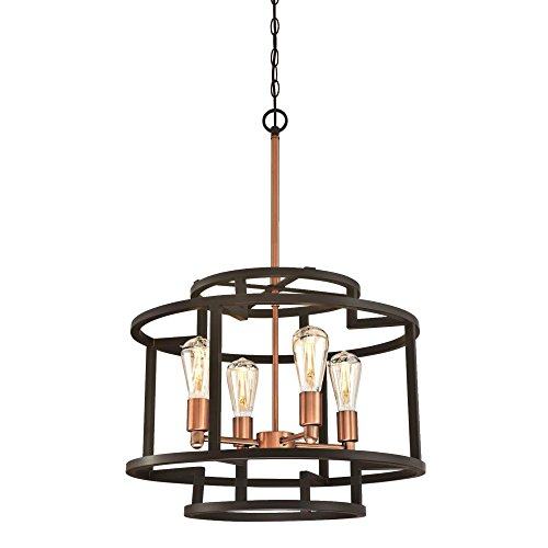 Westinghouse 6328100 Weston Four-Light Indoor Chandelier, Oil Rubbed Bronze and Washed Copper Finish (Bronze Washed Finish)