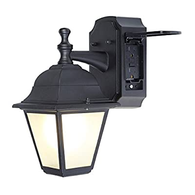 Portfolio GFCI 11.81-in H Black Outdoor Wall Light