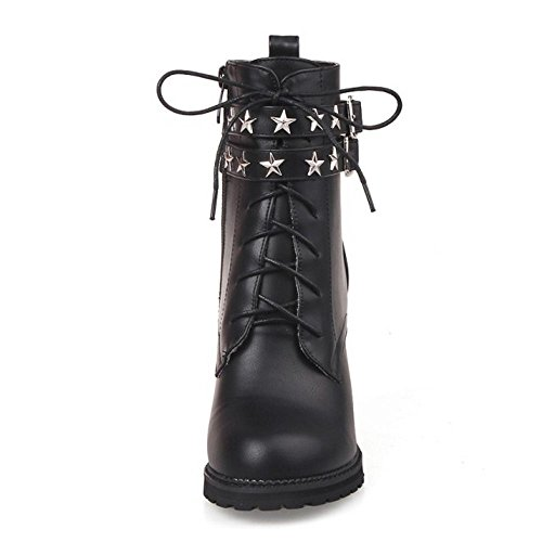 COOLCEPT Women's Fashion Casual Vintage Ankle Boots Side Zipper Autumn Shoes Small Size Black RsO9O6l