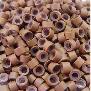 (500 PCS 4.5mm Small Silicone Lined Micro Rings Links Beads Linkies For I Bonded Tip Stick Glue Hair Extensions - Color Auburn Brown)