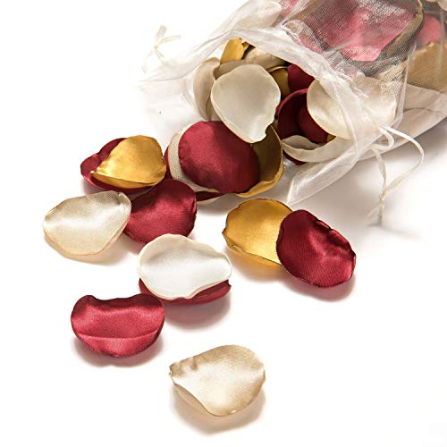 Ling's moment Artificial Flowers Silk Rose Petals 200PCS Flower Girl Scatter Petals for Wedding Party Aisle Centerpieces Table Confetti Home Decorations (200, Combo 5 - Burgundy/Champagne/Gold/Ivory)