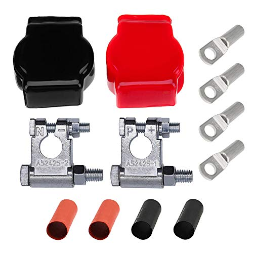 Ampper Top Post Military Spec Battery Terminal and Cover Kit with 4 Lugs and Heatshrink for Marine Car Boat RV Vehicles