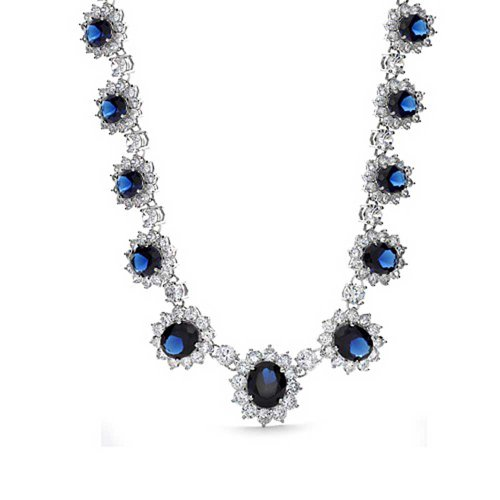 Bling Jewelry Vintage Style Blue Oval AAA Cubic Zirconia Simulated Sapphire CZ Halo Crown Statement Necklace for Women Silver Plated ()