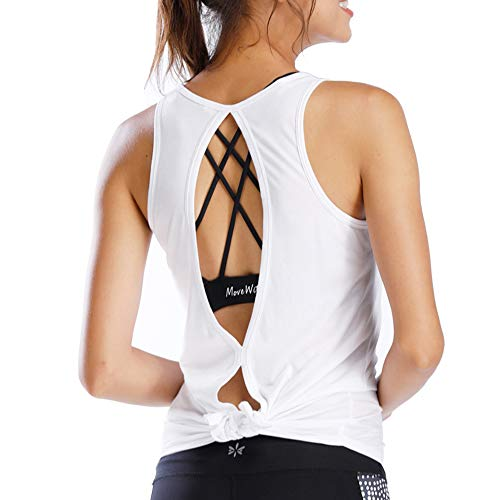 Move With You Women's Open Back Workout Sleeveless Shirts Tie Back Yoga Tank Top Sports Racerback Bamboo Activewear Casual Athletic Backless Gym Running Loose Fit Clothes