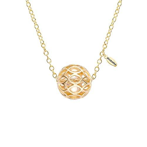 NOUMANDA Pretty Hollow Filigree Ball with Zircon Diamond Golden Geometric Necklace Pendant ()
