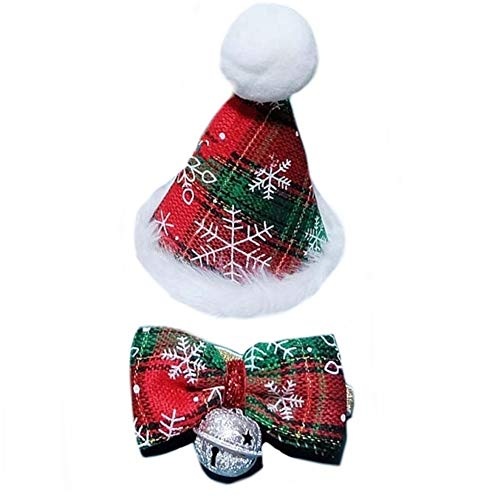 Stock Show Pet Cute Xmas Cone Hat and Bowknot Bell Collar Set with Snowflakes Pattern Decor and White Pom-poms Topper for Cat Small Medium Large Dogs Christmas Festival Costume Dressup, Green&Red]()