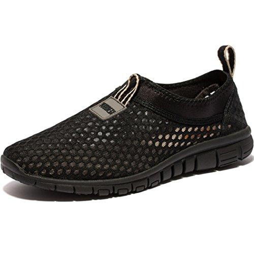 Kensbuy Womens Lichtgewicht Slip-on Mesh Schoenen Zwart / Zwart