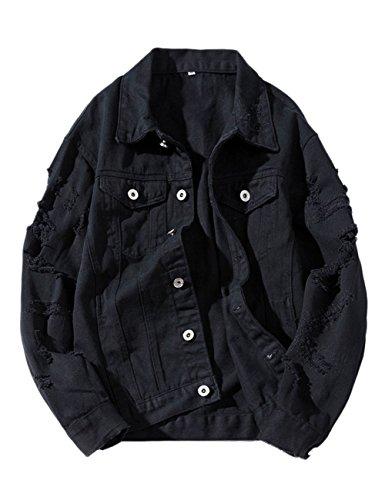 ZLSLZ Womens Girls Cute Solid Distressed Ripped Long Sleeve Denim Jean Jacket Coat Plus Size Black US M