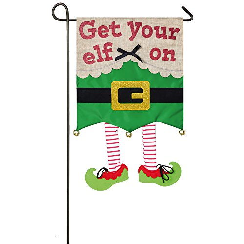 Evergreen Get Your Elf On Outdoor Safe Double-Sided Applique Garden Flag, 12.5 x 18 inches