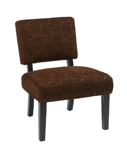 Avenue Six Chocolate - AVE SIX Jasmine Accent Chair with Espresso Finish Solid Wood Legs, Maze Chocolate