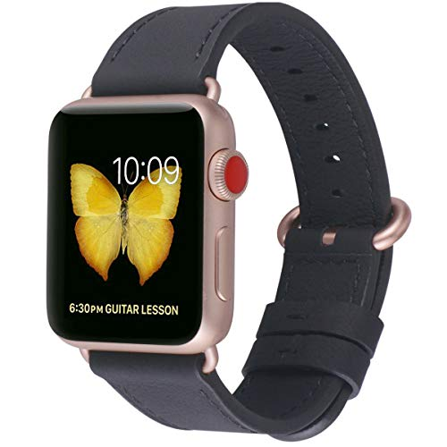 (PEAK ZHANG Compatible with Apple Watch Band 38mm/40mm Women Leather Replacement Strap with Series 4/3 Rose Gold Clasp for iWatch Series 4,3,2,1(Black,38mm 40mm S/M))