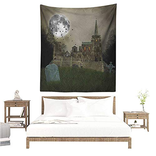 Agoza Gothic DIY Tapestry Old Village and Graves with Medieval Castle and Full Moon Birds Fog Horror Art Occlusion Cloth Painting 40W x 60L INCH Beige Green
