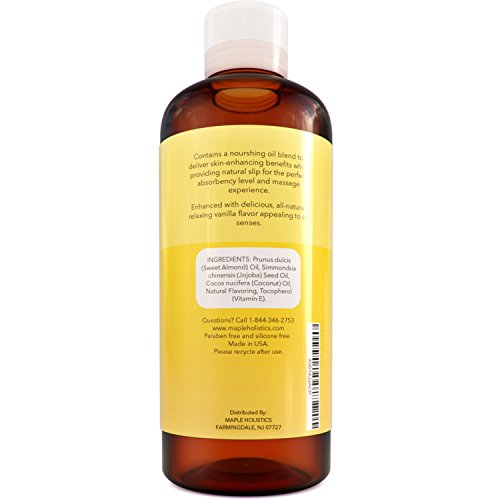 Vanilla Edible Massage Therapist Oil for Couples - All Natural Jojoba Sweet Almond & Coconut Oil for Skin Blend - Sensual Massage Body Oil for Skin So Soft - Dry Skin Moisturizer for Back Pain Relief by Maple Holistics (Image #3)