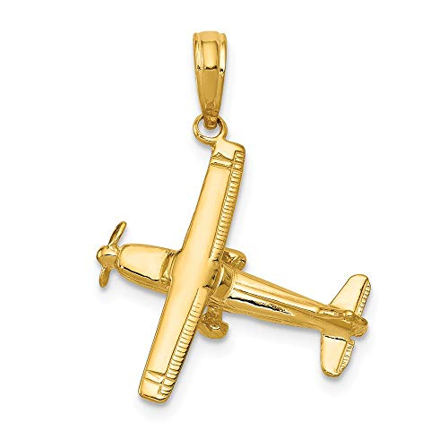 (14k Yellow Gold 3 D High Wing Airplane Pendant Charm Necklace Travel Transportation Man Fine Jewelry Gift For Dad Mens For Him)