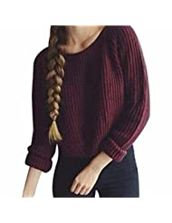 Women Wine Red Winter/Fall Pullover Sweater Round Neck Short Knitwear Chandail