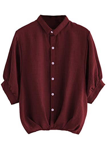 Milumia Women's Lantern Sleeve Pleated Detail Button Down Blouse Shirt Medium Burgundy