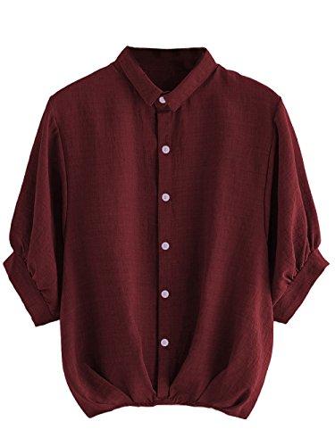 Milumia Women's Lantern Sleeve Pleated Detail Button Down Blouse Shirt Medium Burgundy