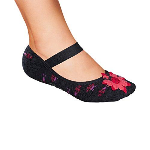 Lupo Women's Ladybug No Slip Gripper Yoga House Slipper Socks, One Size Black