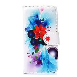 WQQ patrón de flores de siete pétalos de la PU cuero de la cubierta de cuerpo completo con soporte para el iphone 6